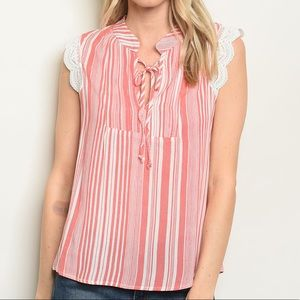 Tops - 5 for $100 Just In! Coral Stripes Tunic Top